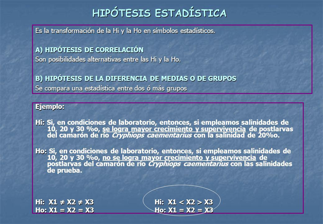 HIPÓTESIS ESTADÍSTICA Es la transformación de la Hi y la Ho en símbolos estadísticos.