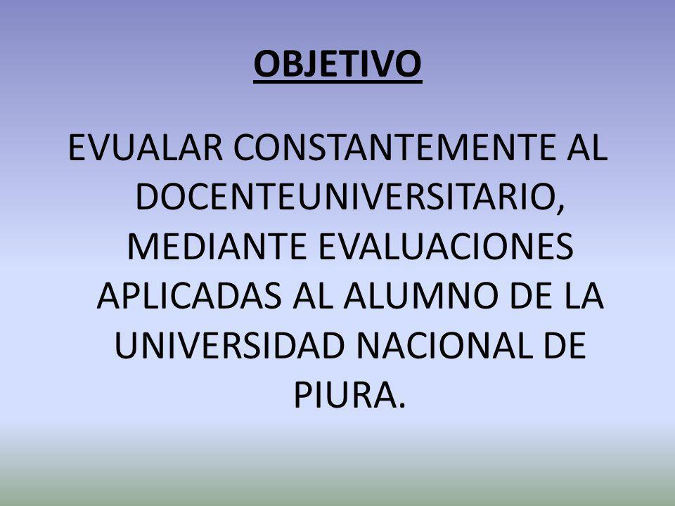 OBJETIVO EVUALAR CONSTANTEMENTE AL DOCENTEUNIVERSITARIO, MEDIANTE EVALUACIONES APLICADAS AL ALUMNO DE LA UNIVERSIDAD NACIONAL DE PIURA.