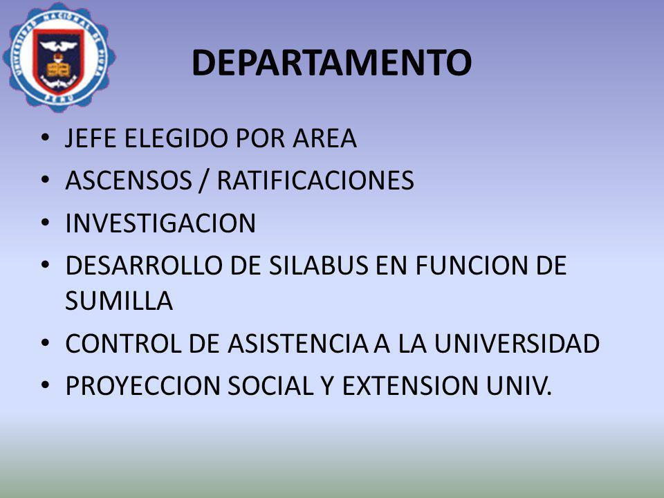 DEPARTAMENTO JEFE ELEGIDO POR AREA ASCENSOS / RATIFICACIONES INVESTIGACION DESARROLLO DE SILABUS EN FUNCION DE SUMILLA CONTROL DE ASISTENCIA A LA UNIV