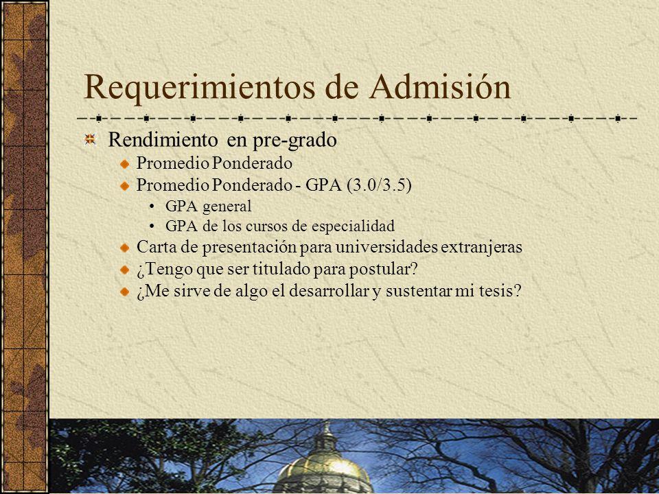 Requerimientos de Admisión Rendimiento en pre-grado Promedio Ponderado Promedio Ponderado - GPA (3.0/3.5) GPA general GPA de los cursos de especialidad Carta de presentación para universidades extranjeras ¿Tengo que ser titulado para postular.