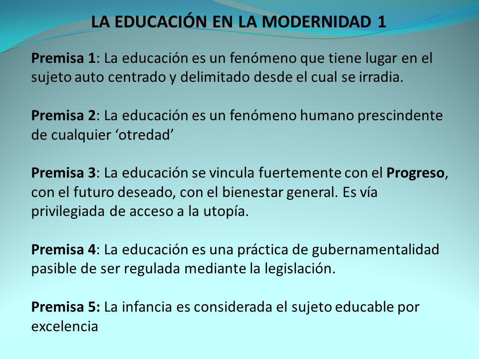 Premisa 1: La educación es un fenómeno que tiene lugar en el sujeto auto centrado y delimitado desde el cual se irradia.