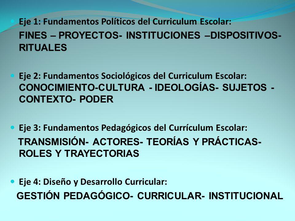 Eje 1: Fundamentos Políticos del Curriculum Escolar La Modernidad: Proyecto político y pedagógico de la Modernidad.