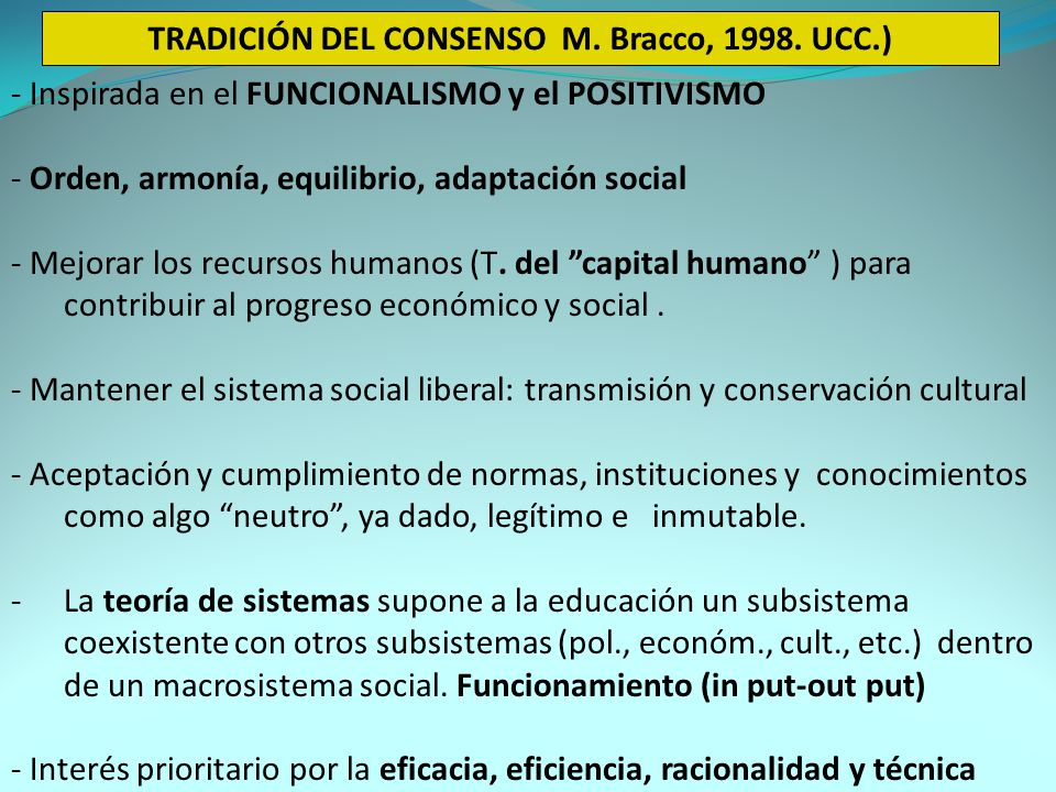 TRADICIÓN DEL CONSENSO M.Bracco, 1998.