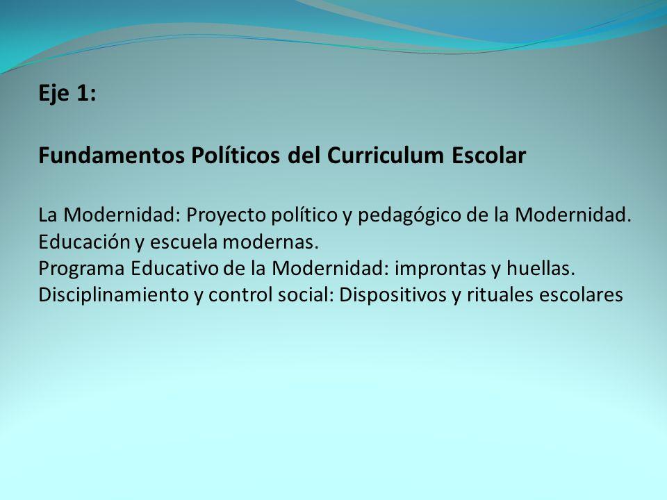 Eje 2: Fundamentos Sociológicos del Curriculum Escolar Interés de la Sociología por el currículum Tradiciones del Consenso y del Conflicto El currículum: conceptualizaciones, significados, características Definición sociológica del currículum.