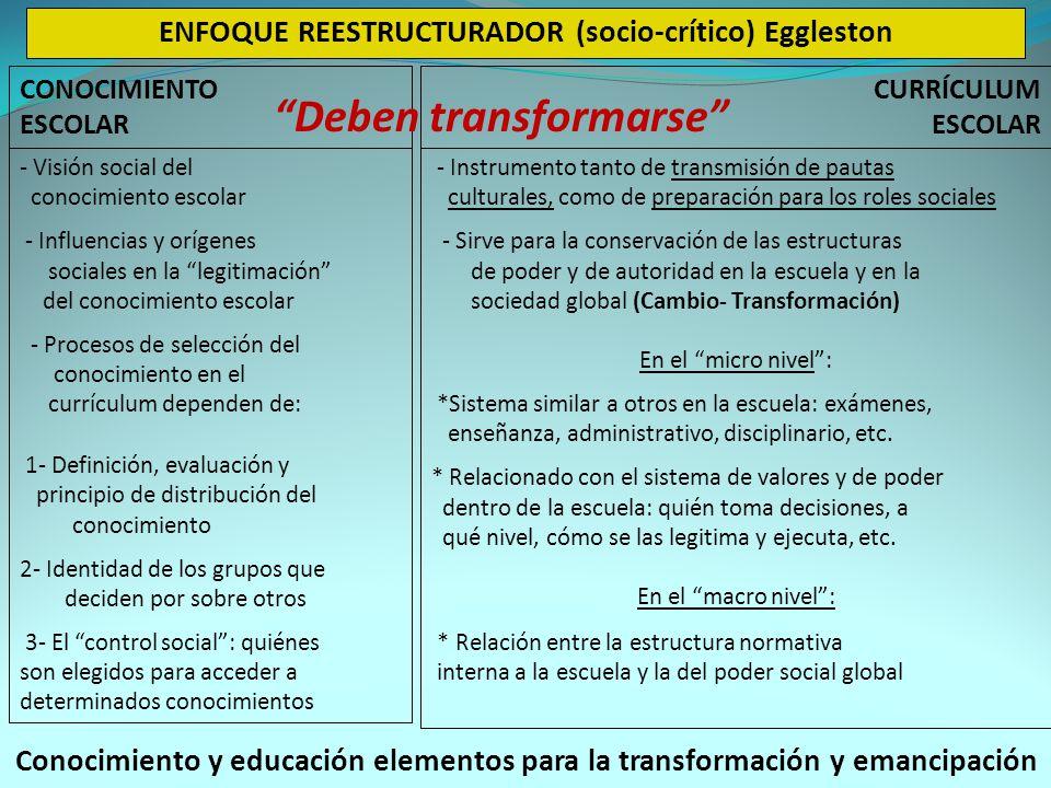 CONOCIMIENTO ESCOLAR CURRÍCULUM ESCOLAR ENFOQUE REESTRUCTURADOR (socio-crítico) Eggleston - Visión social del conocimiento escolar - Influencias y orígenes sociales en la legitimación del conocimiento escolar - Procesos de selección del conocimiento en el currículum dependen de: 1- Definición, evaluación y principio de distribución del conocimiento 2- Identidad de los grupos que deciden por sobre otros 3- El control social: quiénes son elegidos para acceder a determinados conocimientos - Instrumento tanto de transmisión de pautas culturales, como de preparación para los roles sociales - Sirve para la conservación de las estructuras de poder y de autoridad en la escuela y en la sociedad global (Cambio- Transformación) En el micro nivel: *Sistema similar a otros en la escuela: exámenes, enseñanza, administrativo, disciplinario, etc.
