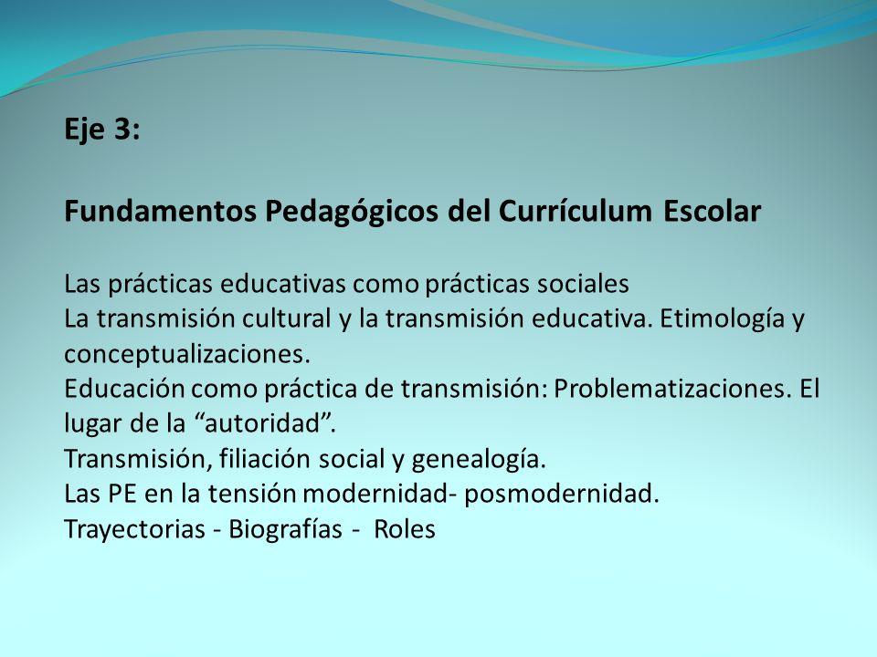 Eje 3: Fundamentos Pedagógicos del Currículum Escolar Las prácticas educativas como prácticas sociales La transmisión cultural y la transmisión educativa.