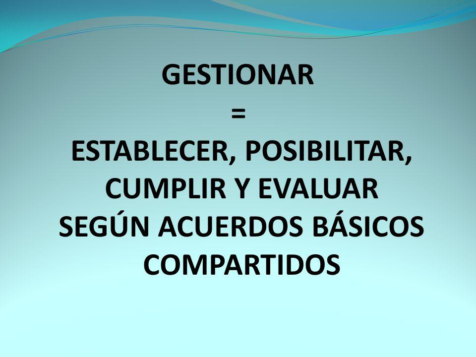 GESTIONAR = ESTABLECER, POSIBILITAR, CUMPLIR Y EVALUAR SEGÚN ACUERDOS BÁSICOS COMPARTIDOS