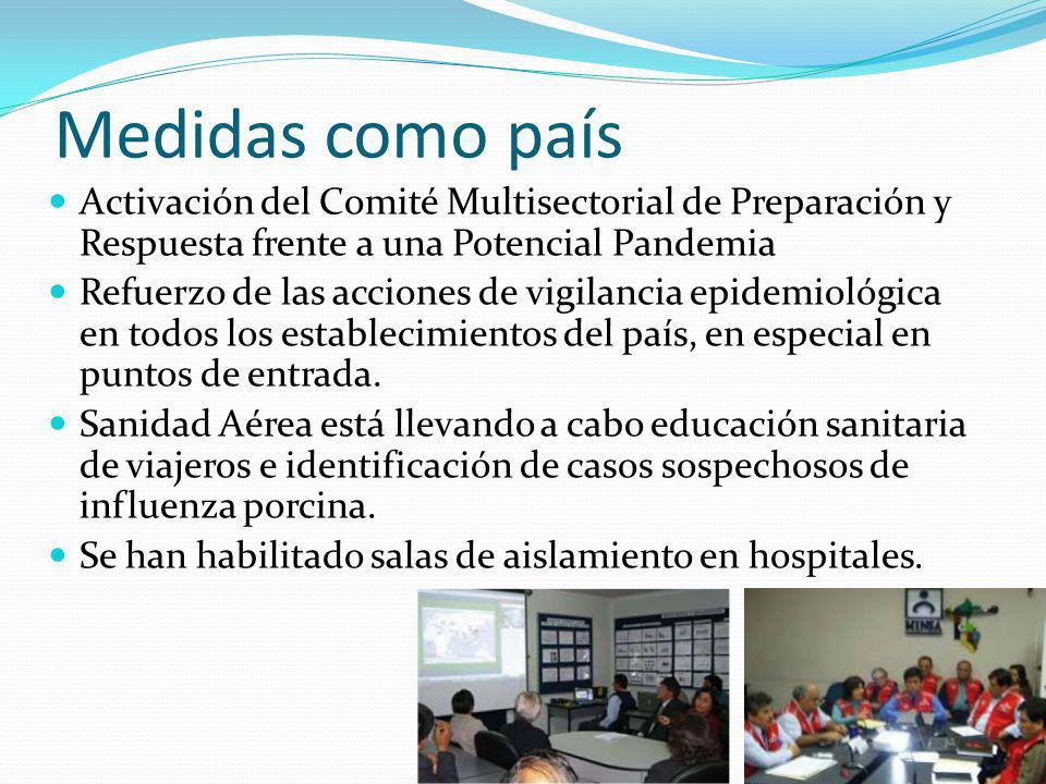 Medidas como país Activación del Comité Multisectorial de Preparación y Respuesta frente a una Potencial Pandemia Refuerzo de las acciones de vigilanc