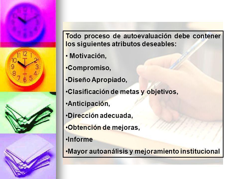Todo proceso de autoevaluación debe contener los siguientes atributos deseables: Motivación, Compromiso, Diseño Apropiado, Clasificación de metas y objetivos, Anticipación, Dirección adecuada, Obtención de mejoras, Informe Mayor autoanálisis y mejoramiento institucional