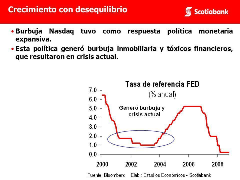 Burbuja Nasdaq tuvo como respuesta política monetaria expansiva.