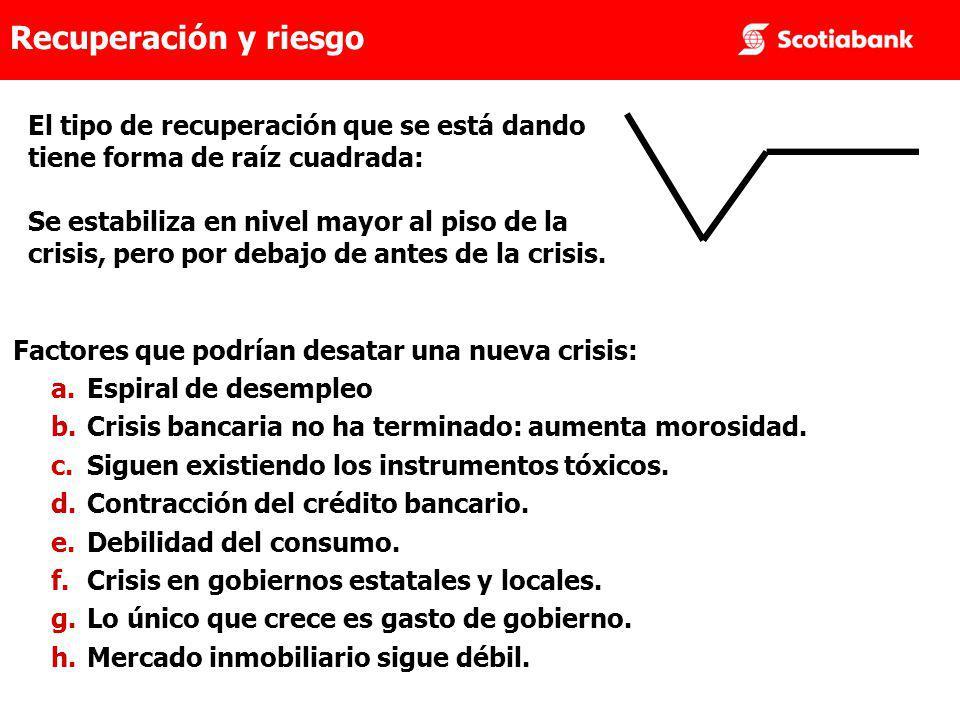 El tipo de recuperación que se está dando tiene forma de raíz cuadrada: Se estabiliza en nivel mayor al piso de la crisis, pero por debajo de antes de la crisis.