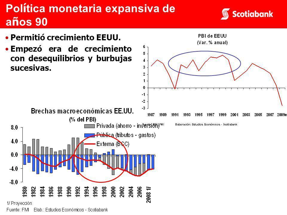 Permitió crecimiento EEUU. Empezó era de crecimiento con desequilibrios y burbujas sucesivas.