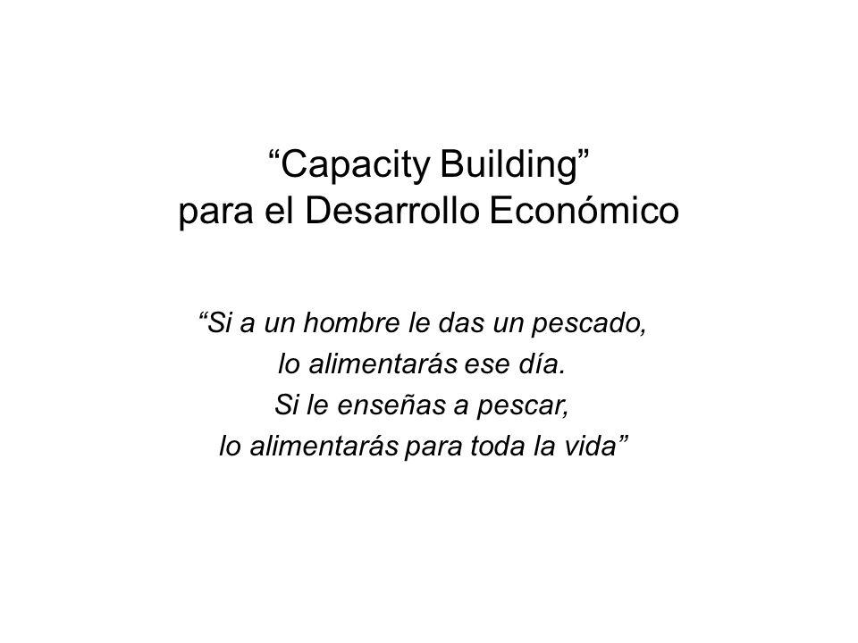 Capacity Building para el Desarrollo Económico Si a un hombre le das un pescado, lo alimentarás ese día. Si le enseñas a pescar, lo alimentarás para t