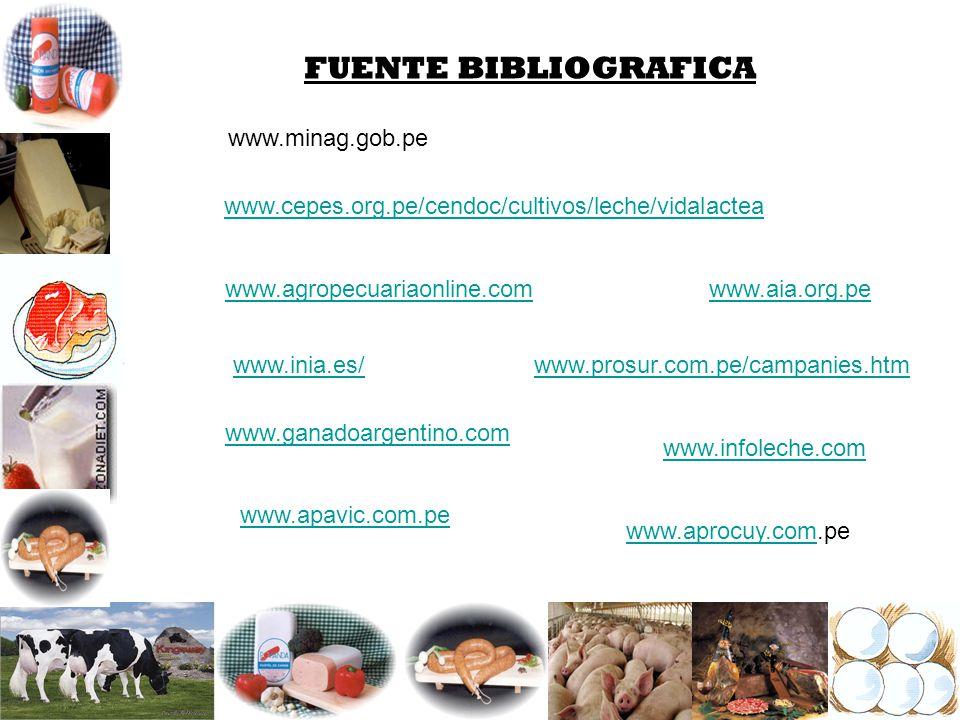FUENTE BIBLIOGRAFICA www.minag.gob.pe www.cepes.org.pe/cendoc/cultivos/leche/vidalactea www.agropecuariaonline.com www.inia.es/ www.ganadoargentino.co