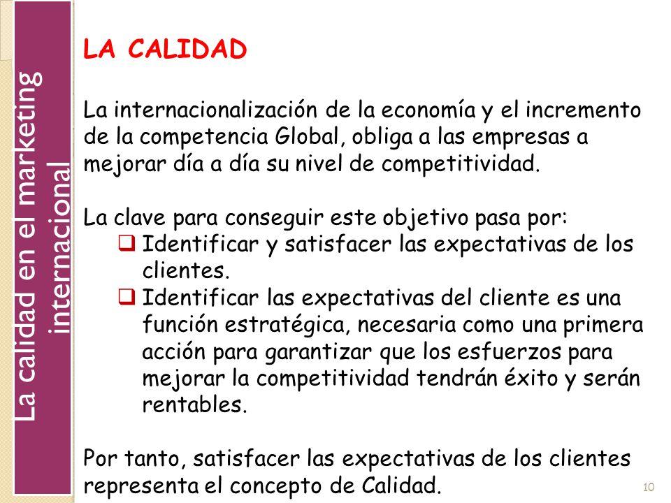 10 LA CALIDAD La internacionalización de la economía y el incremento de la competencia Global, obliga a las empresas a mejorar día a día su nivel de c