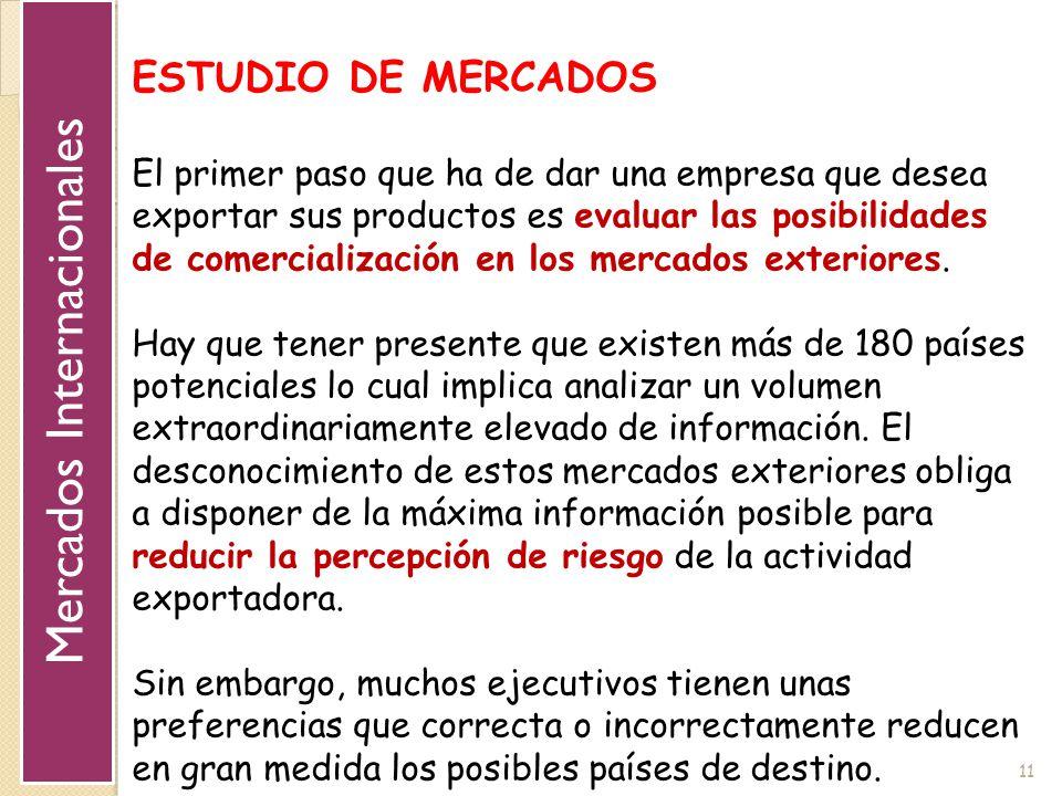 11 ESTUDIO DE MERCADOS El primer paso que ha de dar una empresa que desea exportar sus productos es evaluar las posibilidades de comercialización en l