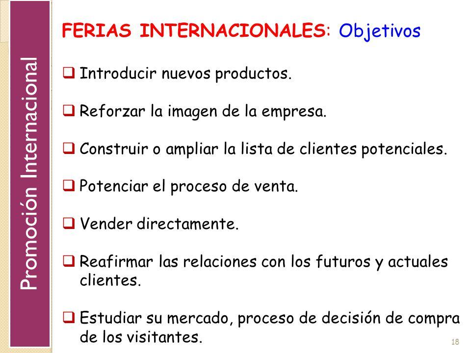 18 FERIAS INTERNACIONALES: Objetivos Introducir nuevos productos. Reforzar la imagen de la empresa. Construir o ampliar la lista de clientes potencial