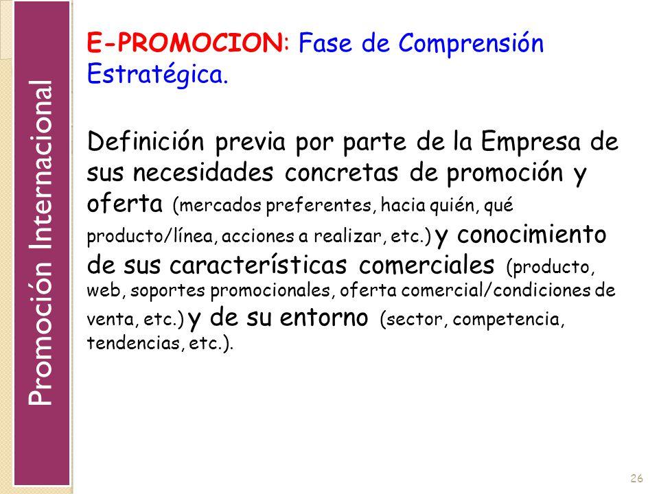 26 E-PROMOCION: Fase de Comprensión Estratégica. Definición previa por parte de la Empresa de sus necesidades concretas de promoción y oferta (mercado