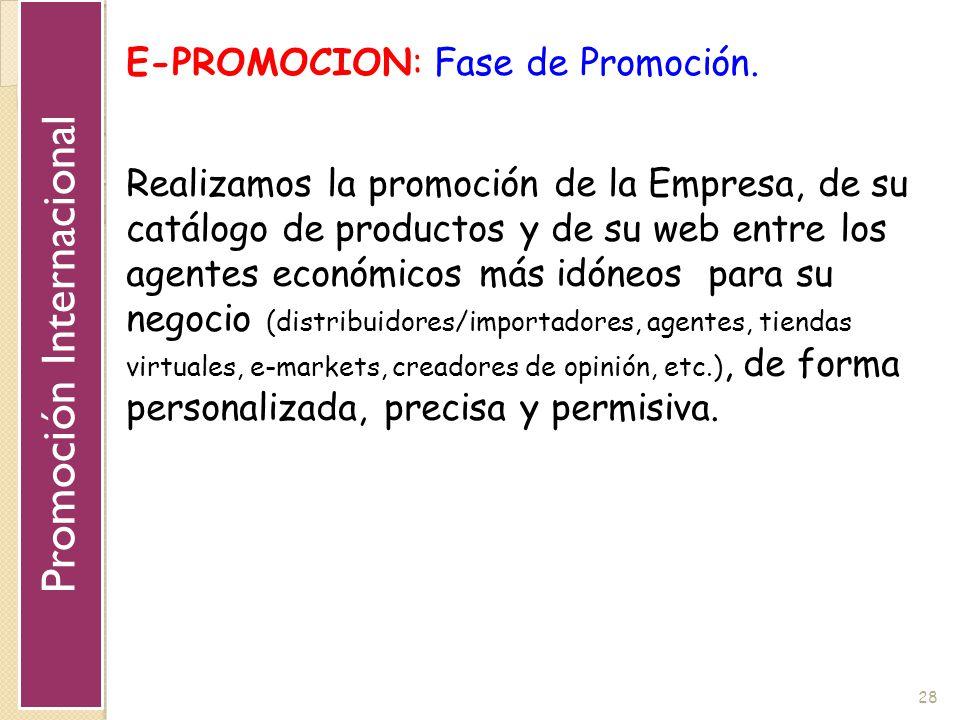 28 E-PROMOCION: Fase de Promoción. Realizamos la promoción de la Empresa, de su catálogo de productos y de su web entre los agentes económicos más idó