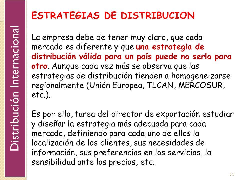 30 ESTRATEGIAS DE DISTRIBUCION La empresa debe de tener muy claro, que cada mercado es diferente y que una estrategia de distribución válida para un p