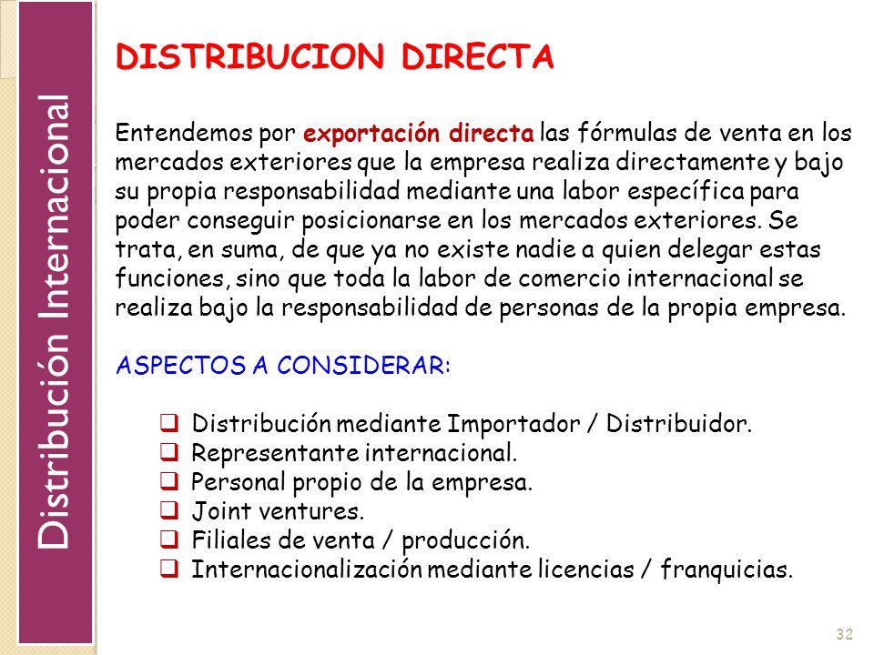 32 DISTRIBUCION DIRECTA Entendemos por exportación directa las fórmulas de venta en los mercados exteriores que la empresa realiza directamente y bajo