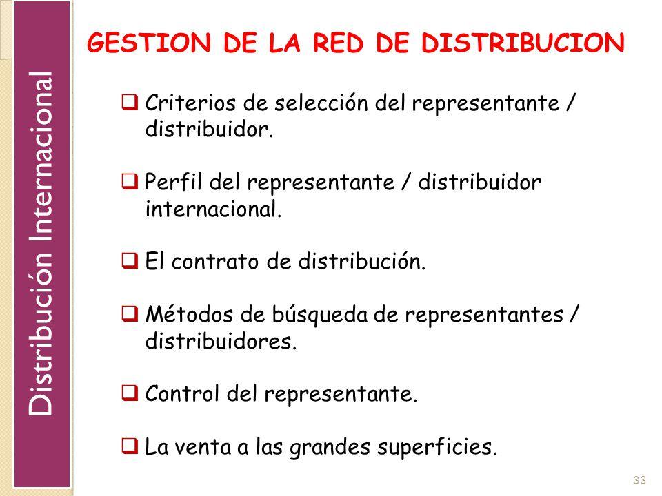 33 GESTION DE LA RED DE DISTRIBUCION Criterios de selección del representante / distribuidor. Perfil del representante / distribuidor internacional. E