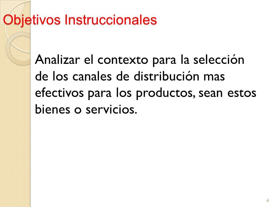 Objetivos Instruccionales Analizar el contexto para la selección de los canales de distribución mas efectivos para los productos, sean estos bienes o