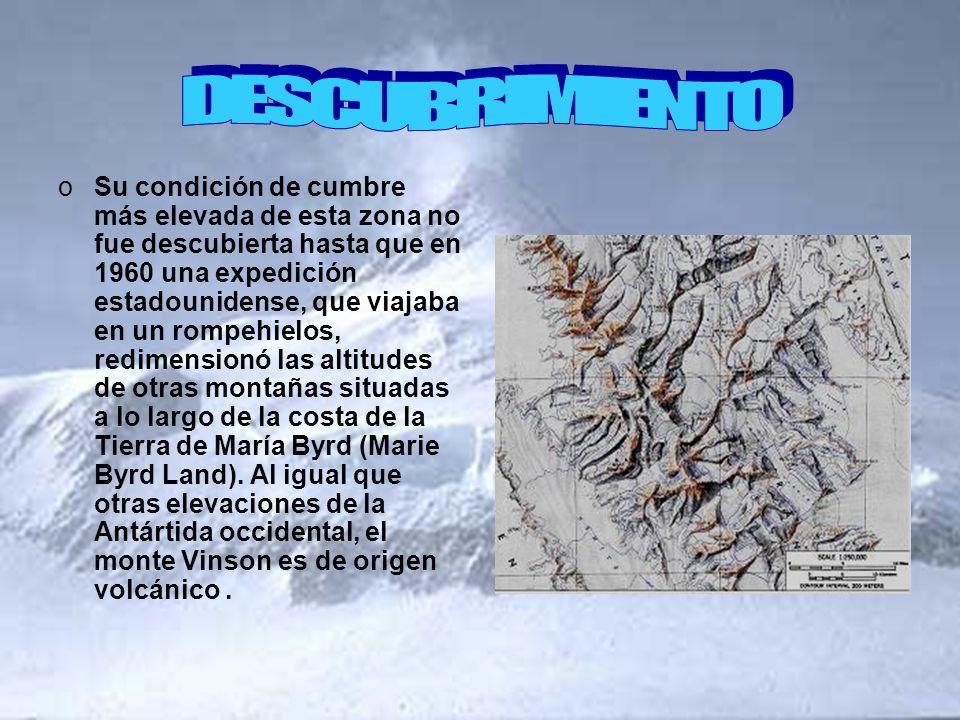oSu condición de cumbre más elevada de esta zona no fue descubierta hasta que en 1960 una expedición estadounidense, que viajaba en un rompehielos, re