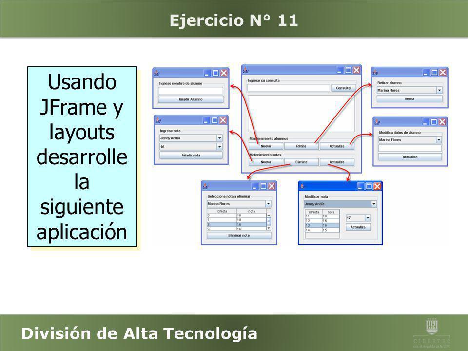 División de Alta Tecnología JFrames, JPanel y JApplets