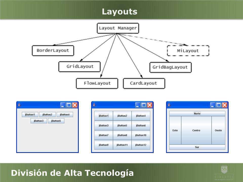 División de Alta Tecnología Introducción al AWT Abstract Window Toolkit (AWT) permite hacer interfaces gráficas mediante artefactos de interacción con el usuario, como botones, menús, texto, botones para selección, barras de deslizamiento, ventanas de diálogo, selectores de archivos y otros.