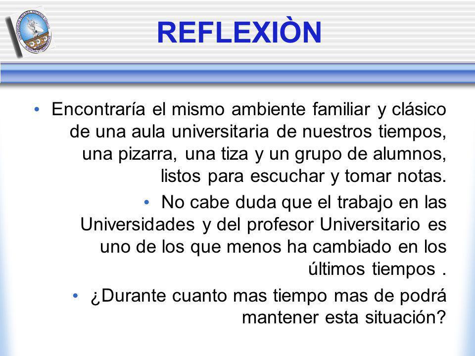 REFLEXIÒN Encontraría el mismo ambiente familiar y clásico de una aula universitaria de nuestros tiempos, una pizarra, una tiza y un grupo de alumnos, listos para escuchar y tomar notas.