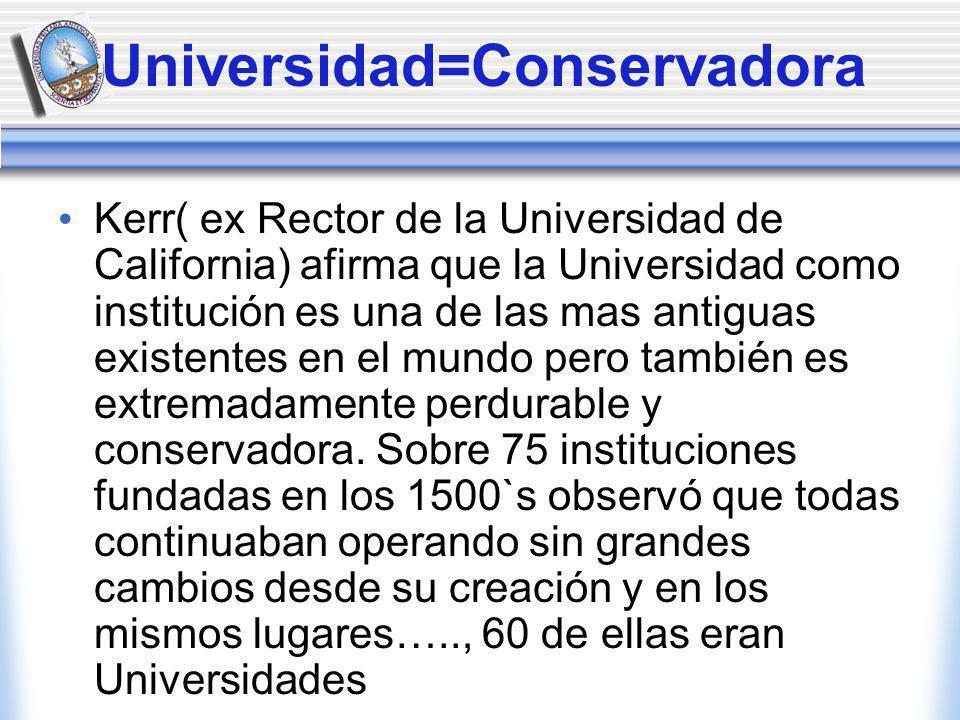 Universidad=Conservadora Kerr( ex Rector de la Universidad de California) afirma que la Universidad como institución es una de las mas antiguas existentes en el mundo pero también es extremadamente perdurable y conservadora.