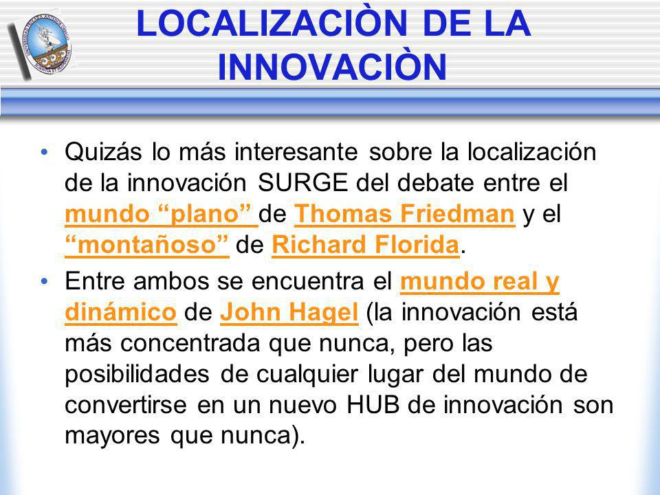 LOCALIZACIÒN DE LA INNOVACIÒN Quizás lo más interesante sobre la localización de la innovación SURGE del debate entre el mundo plano de Thomas Friedman y el montañoso de Richard Florida.