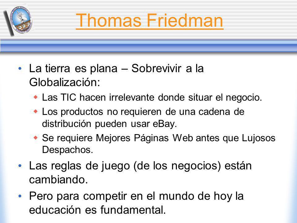 Thomas Friedman La tierra es plana – Sobrevivir a la Globalización: Las TIC hacen irrelevante donde situar el negocio.