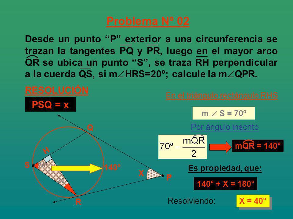 20° 70° X X = 40° R Q H En el triángulo rectángulo RHS 140° Es propiedad, que: 140° + X = 180° Por ángulo inscrito Problema Nº 02 RESOLUCIÓN P S m S =
