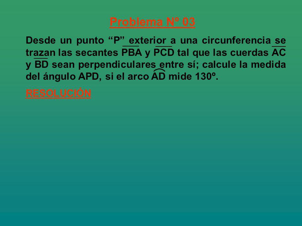 Problema Nº 03 RESOLUCIÓN Desde un punto P exterior a una circunferencia se trazan las secantes PBA y PCD tal que las cuerdas AC y BD sean perpendicul