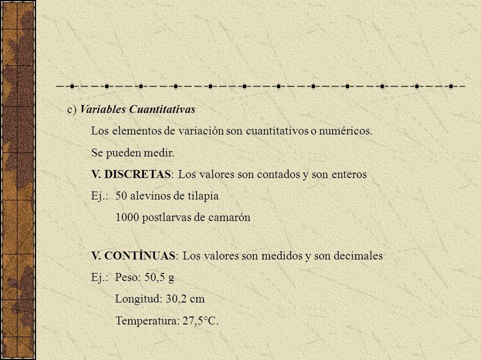 c) Variables Cuantitativas Los elementos de variación son cuantitativos o numéricos. Se pueden medir. V. DISCRETAS: Los valores son contados y son ent