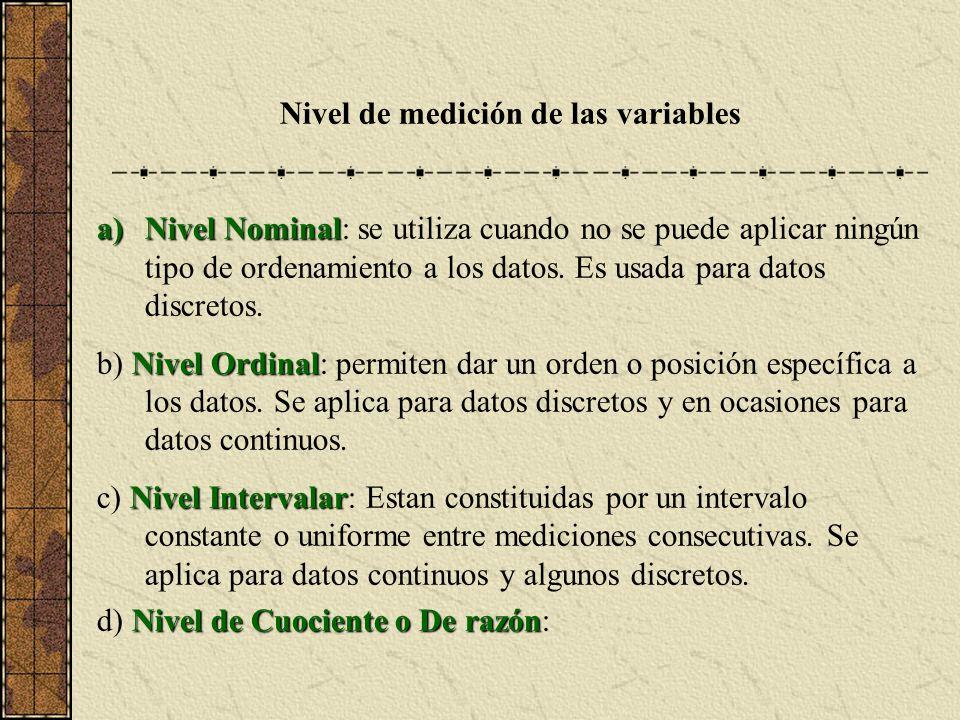 Nivel de medición de las variables a)Nivel Nominal a)Nivel Nominal: se utiliza cuando no se puede aplicar ningún tipo de ordenamiento a los datos.