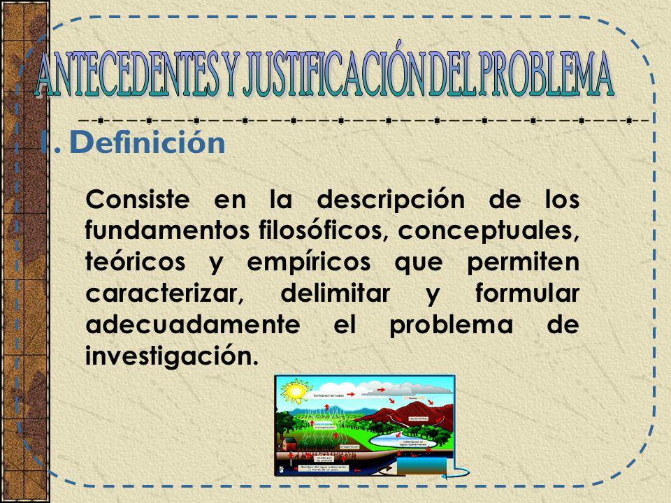 Consiste en la descripción de los fundamentos filosóficos, conceptuales, teóricos y empíricos que permiten caracterizar, delimitar y formular adecuada