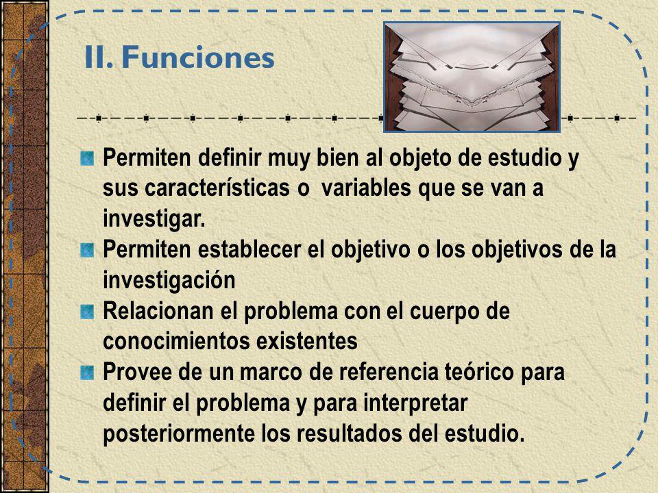 Permiten definir muy bien al objeto de estudio y sus características o variables que se van a investigar. Permiten establecer el objetivo o los objeti