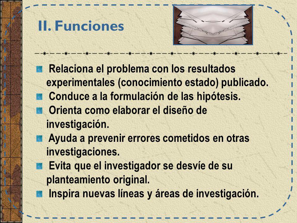 Relaciona el problema con los resultados experimentales (conocimiento estado) publicado. Conduce a la formulación de las hipótesis. Orienta como elabo