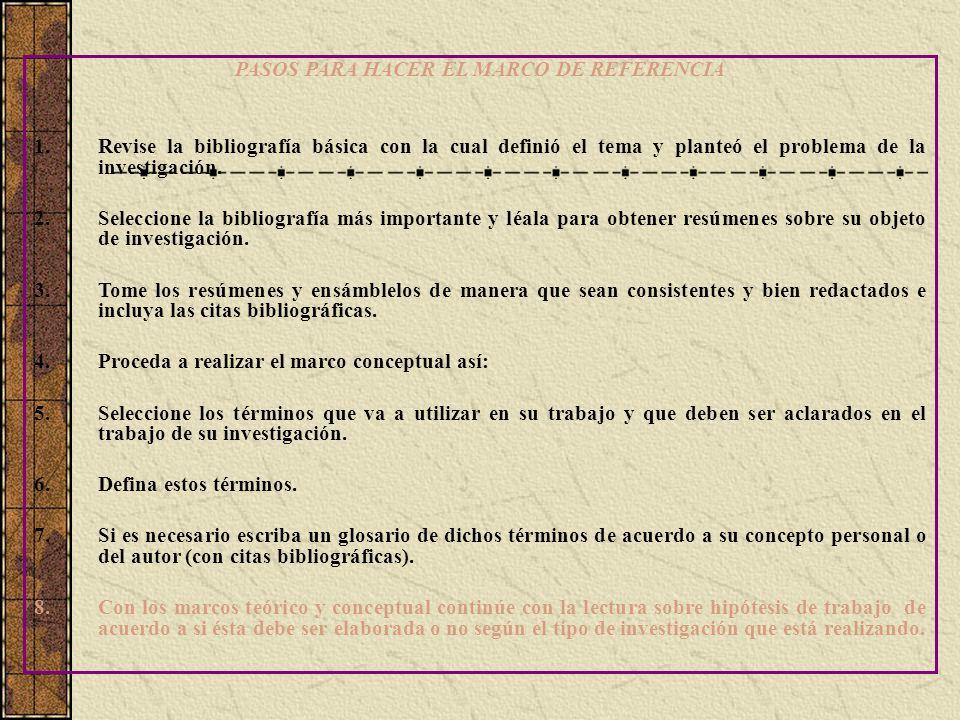 PASOS PARA HACER EL MARCO DE REFERENCIA 1.Revise la bibliografía básica con la cual definió el tema y planteó el problema de la investigación. 2.Selec