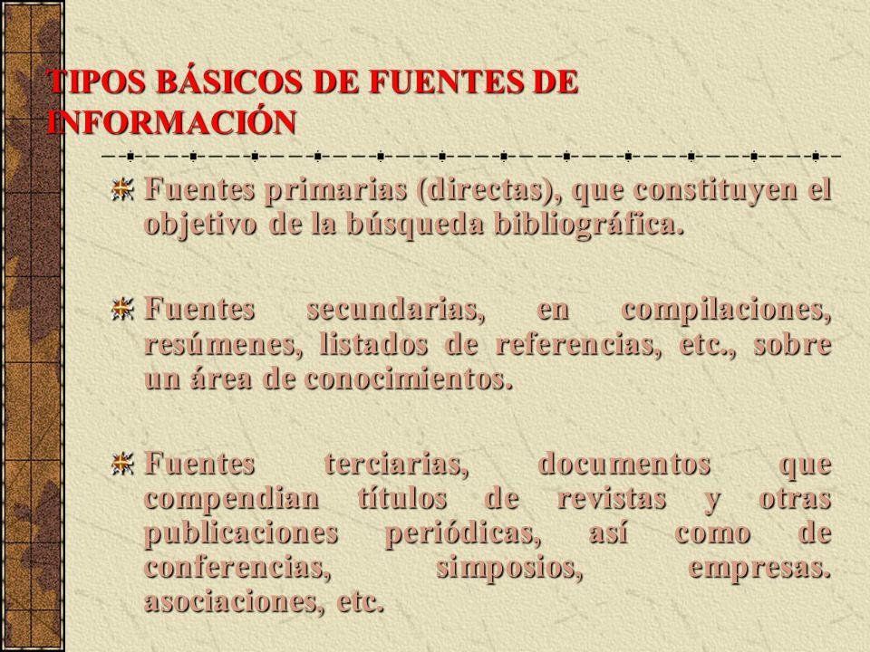 TIPOS BÁSICOS DE FUENTES DE INFORMACIÓN Fuentes primarias (directas), que constituyen el objetivo de la búsqueda bibliográfica. Fuentes secundarias, e