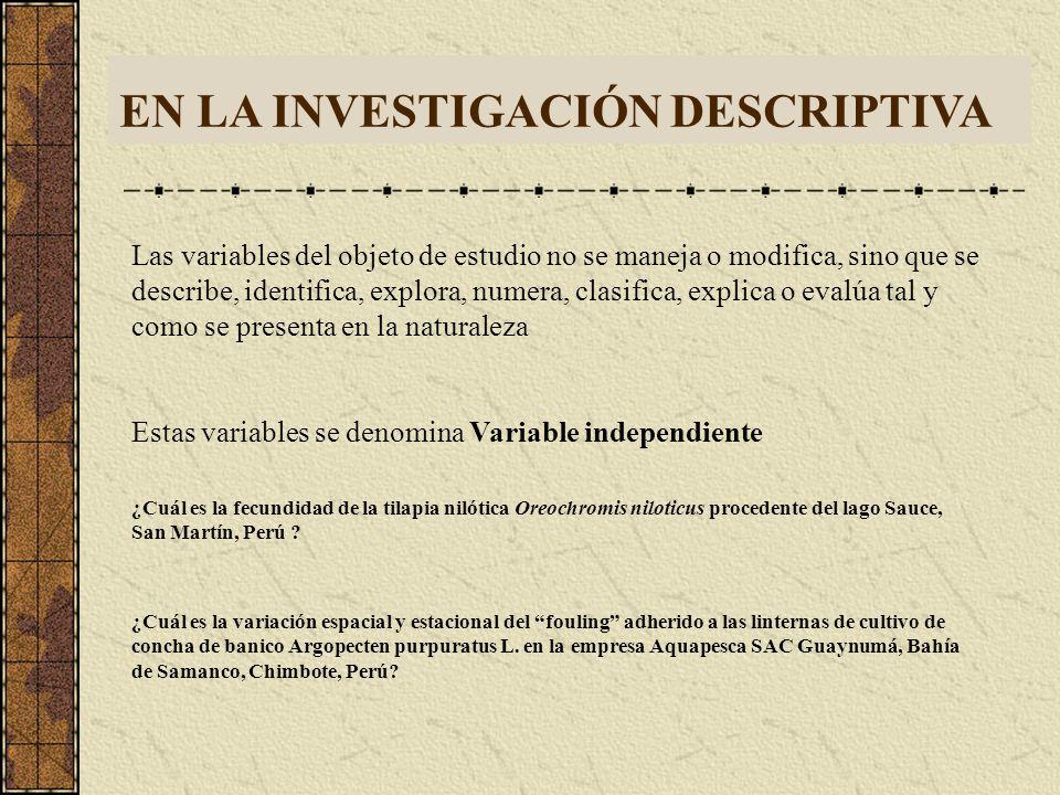 EN LA INVESTIGACIÓN DESCRIPTIVA Las variables del objeto de estudio no se maneja o modifica, sino que se describe, identifica, explora, numera, clasifica, explica o evalúa tal y como se presenta en la naturaleza Estas variables se denomina Variable independiente ¿Cuál es la fecundidad de la tilapia nilótica Oreochromis niloticus procedente del lago Sauce, San Martín, Perú .