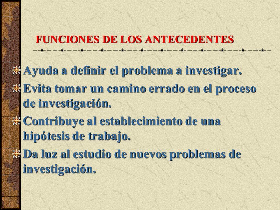 FUNCIONES DE LOS ANTECEDENTES Ayuda a definir el problema a investigar. Evita tomar un camino errado en el proceso de investigación. Contribuye al est