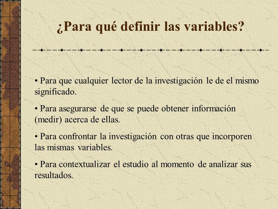 ¿Para qué definir las variables? Para que cualquier lector de la investigación le de el mismo significado. Para asegurarse de que se puede obtener inf