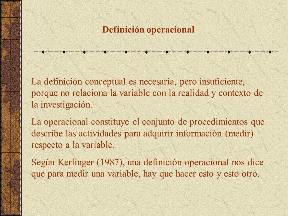 Definición operacional La definición conceptual es necesaria, pero insuficiente, porque no relaciona la variable con la realidad y contexto de la inve