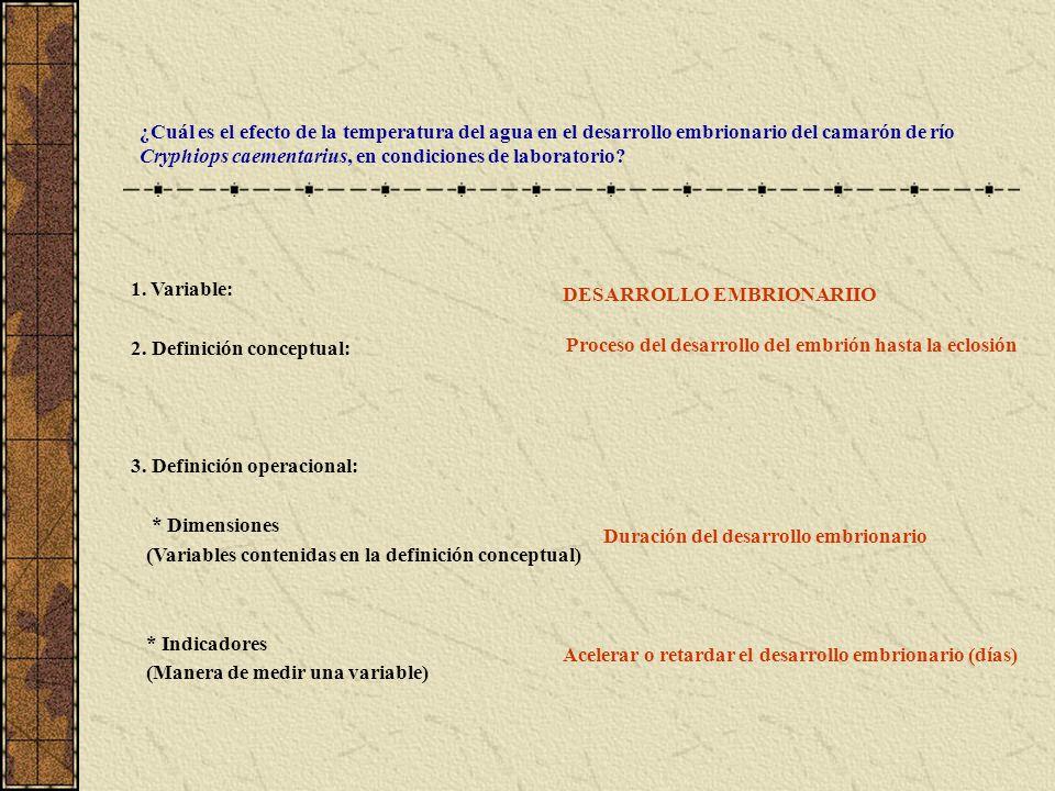 1. Variable: 2. Definición conceptual: 3. Definición operacional: * Dimensiones (Variables contenidas en la definición conceptual) * Indicadores (Mane