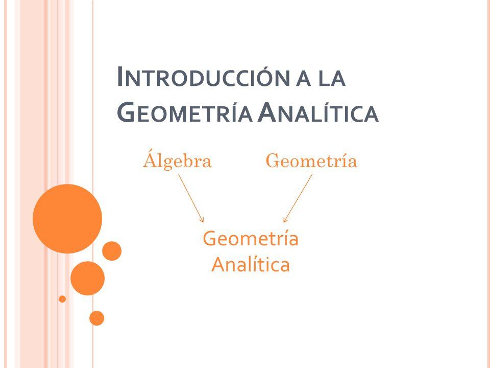 I NTRODUCCIÓN A LA G EOMETRÍA A NALÍTICA ÁlgebraGeometría Geometría Analítica