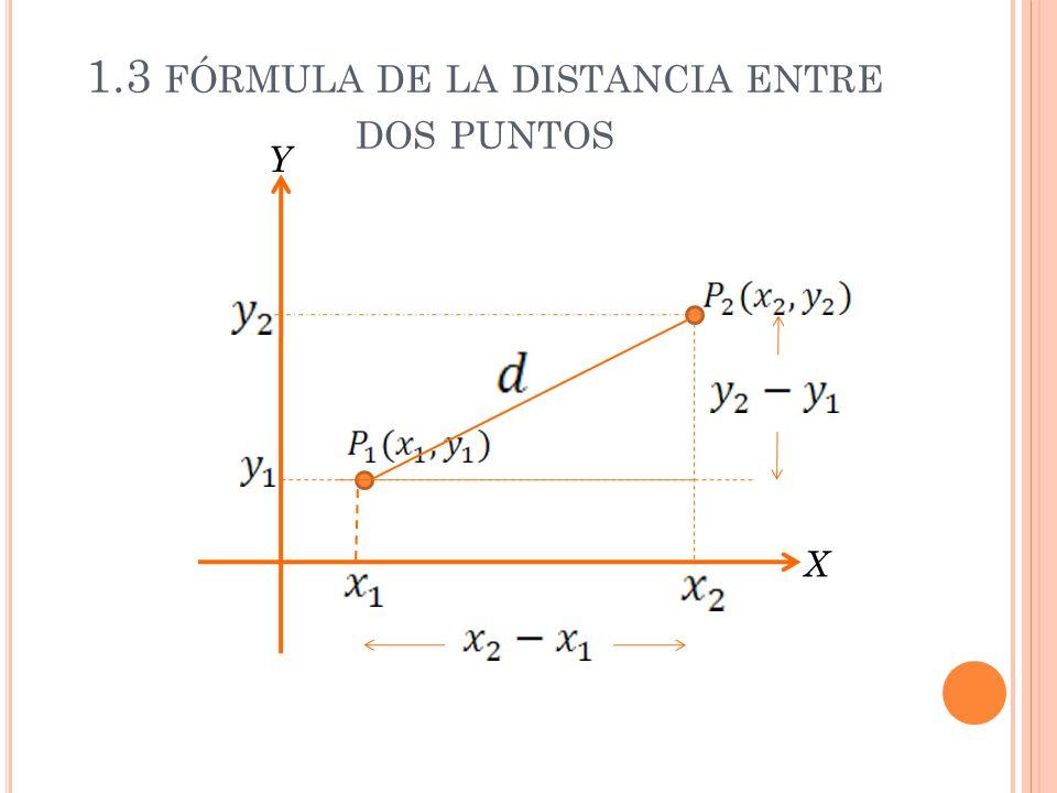 1.3 FÓRMULA DE LA DISTANCIA ENTRE DOS PUNTOS X Y